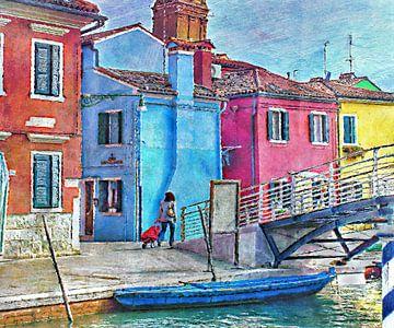 Paysage urbain de Burano, Venise sur Natasja Tollenaar