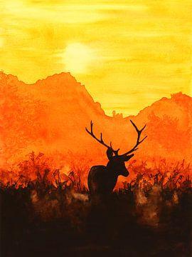 Cerf rouge au soleil du soir sur Natalie Bruns