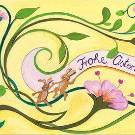 happy easter with flowers van Dorothea Linke
