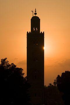 Zonsondergang Koutoubia moskee Marrakech sur Keesnan Dogger Fotografie