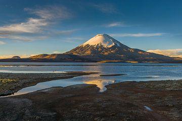 De vulkaan Parinacota bij zonsondergang van