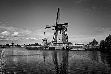 Sommerszene im berühmten Kinderdijk-Kanal mit einer Windmühle. von Tjeerd Kruse