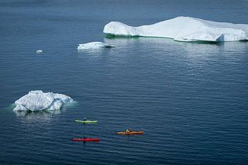 Kajakfahren um die Eisberge in Grönland herum. von Ralph Rozema