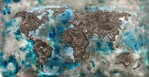 Weltkarte von Concrete von - Wereldkaarten.shop -