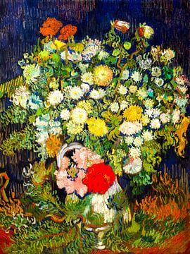 Boeket met bloemen in een vaas - Vincent van Gogh - 1890 van Jan Willem van Doesburg