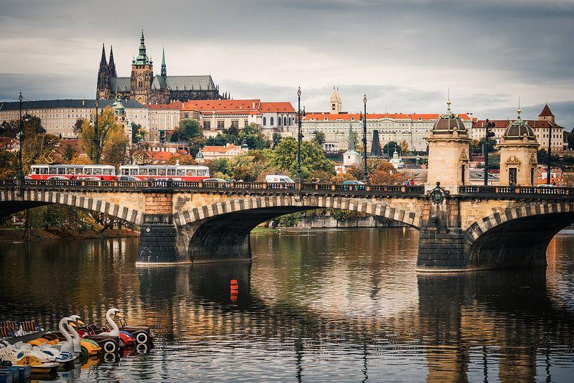 Prague - Vltava River Skyline van Alexander Voss