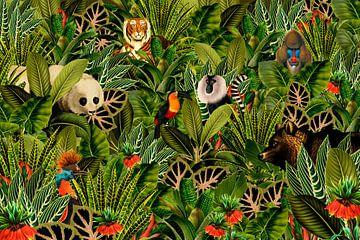 Jungle met panda, toekan, paradijsvogel, beer, tijger en apen. van Studio POPPY