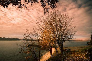zonsondergang over de Merwede van Bert-Jan de Wagenaar