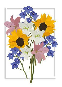 Boeket bloemen, illustratie wit van Nynke Altenburg
