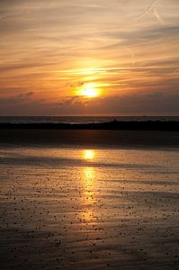 Zonsondergang in Westende - België