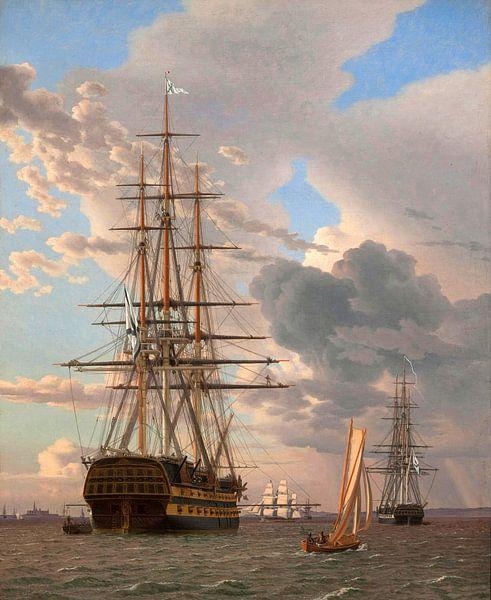 Das russische Schiff der Linie 'Asow', Christoffer Wilhelm Eckersberg von Meesterlijcke Meesters