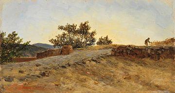 Carlos de Haes Sonnenuntergang auf dem Land, Antike Landschaft