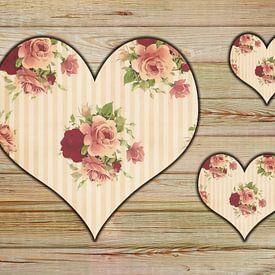 Drei Rosenherzen van Dagmar Marina