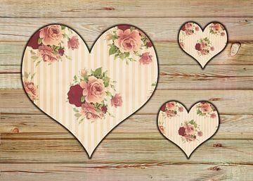 Drei Rosenherzen von Dagmar Marina
