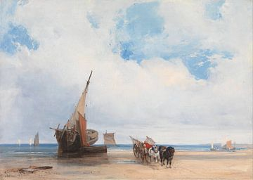 Strandschiffe und ein Wagen, bei Trouville, Frankreich, Richard Parkes Bonington