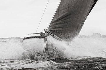 Skûtsje blanc avec flèche foncée qui passe dans l'eau sur ThomasVaer Tom Coehoorn
