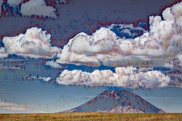 Grote wolken boven de vulkaan in Peru van Rietje Bulthuis