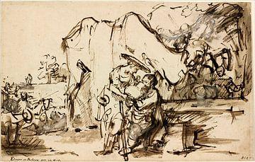 Rembrandt van Rijn  Rébecca et Éliézer au puits sur