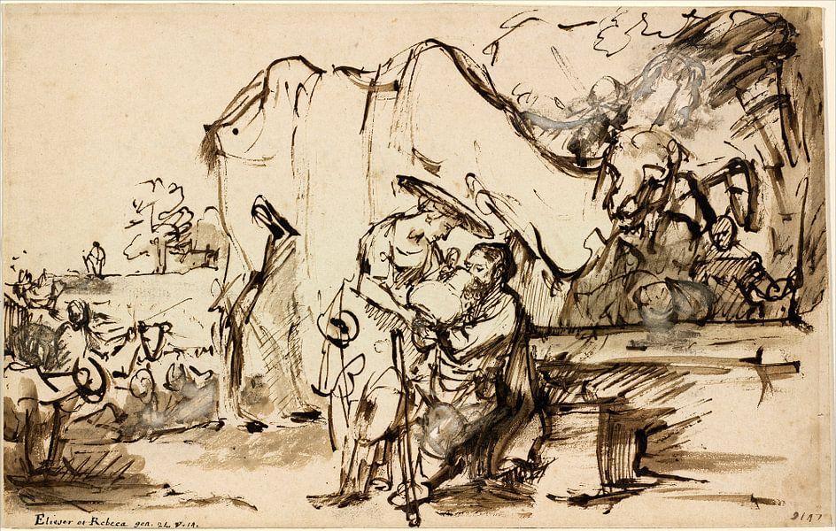 Rembrandt van Rijn  Eliezer en Rebecca bij de bron van Rembrandt van Rijn