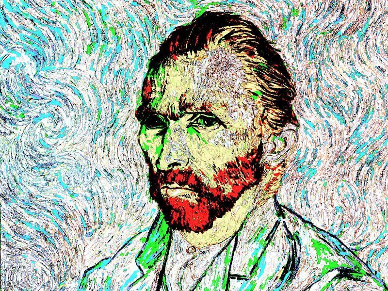 Selbstbildnis 1889 Vincent van Gogh (Musée d'Orsay) Abstrakte, farbenfrohe, digitale Kunst von Art By Dominic