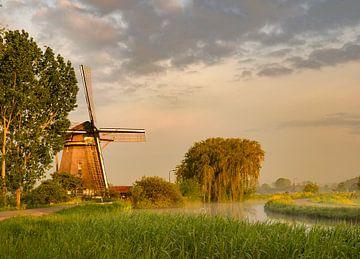 Alte holländische Mühle im Morgenlicht von Michel Knikker