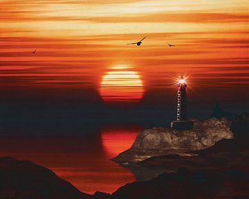De vuurtoren van St Mathieu met een zonsondergang en gele Alto wolken