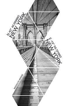 Koordinaten NEW YORK CITY Brooklyn Bridge | monochrom von Melanie Viola