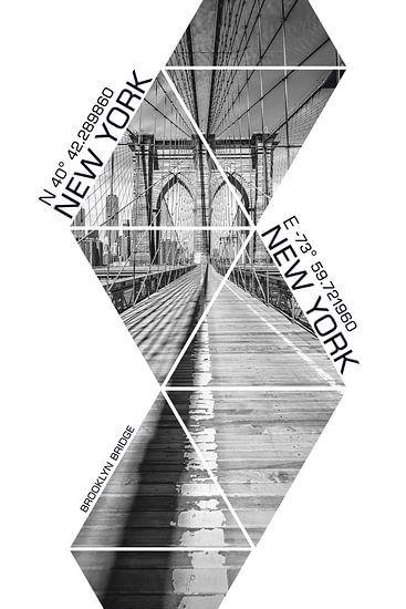 Coördinaten NEW YORK CITY Brooklyn Bridge - monochroom