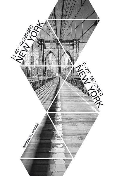 Coördinaten NEW YORK CITY Brooklyn Bridge - monochroom van Melanie Viola