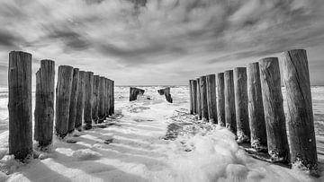 Golfbrekers aan Zeeuwse kust in zwart-wit van Michel Seelen