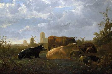 Aelbert Cuyp, Een vergezicht van Dordrecht, met koeien - 1650