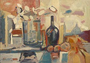 Stilleven met Judaspenning en fles in een huis aan de Montagne de Bueren te Luik van Nop Briex