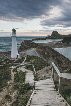 Castle Point Vuurtoren Nieuw-Zeeland II van Tom in 't Veld