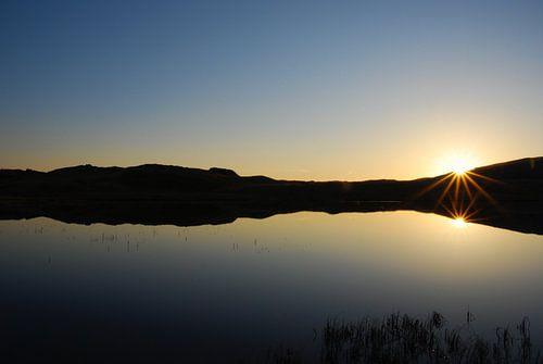 Zonsondergang in lake district van