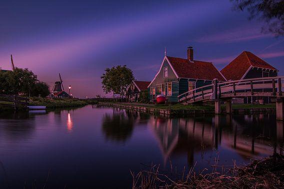 Zaanse Schans zonsondergang van Henk Smit