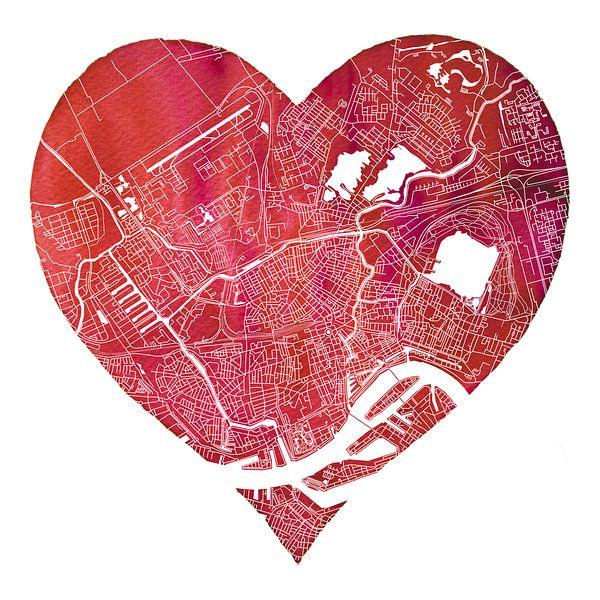 Rotterdam Noord zit in mijn hart   Stadskaart van - Wereldkaarten.Shop -