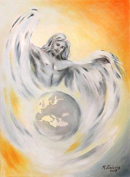 Guardian Angels of the Earth - handbeschilderd Angel Art van Marita Zacharias