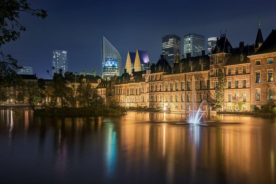 Den Haag: Hofvijver bij nacht van Erik Brons