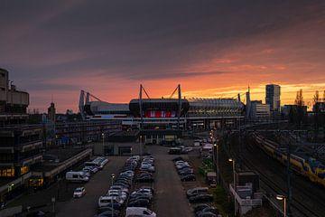 Coucher de soleil sur le stade du PSV sur Mitchell van Eijk