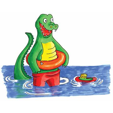 Handgetekende krokodil speelt in water van Ivonne Wierink