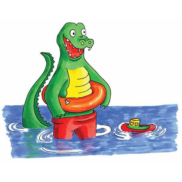 Handgezeichnetes Krokodil, das im Wasser spielt von Ivonne Wierink