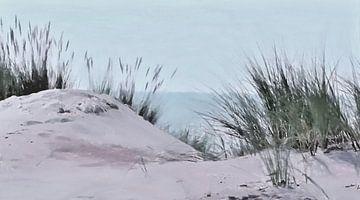 Uitzicht op de Zee vanuit de Duinen - Schilderij