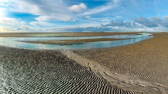 Slenk in de drooggevallen Waddenzee