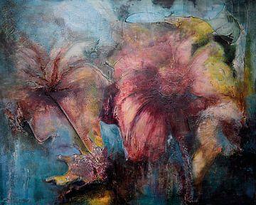 aqua bloemen van Janny Schilderink