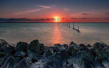 Sonnenuntergang auf dem IJsselmeer von Jos Reimering