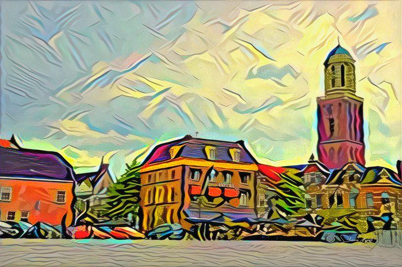 Kleurrijk Schilderij Zwolle: Rodetorenplein met Peperbus in stijl Picasso van Slimme Kunst.nl