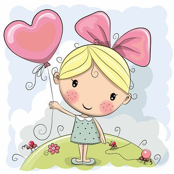 Schattig meisje met ballon van Atelier Liesjes