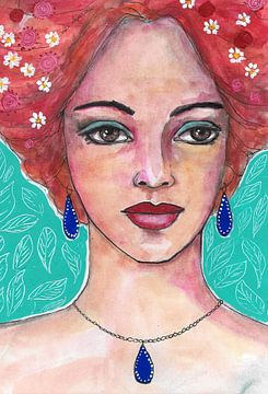 GirlWithBlueJewelry von Lucienne van Leijen