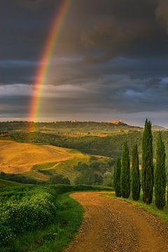 Regenboog over Pienza, Toscane, Italië van Henk Meijer Photography