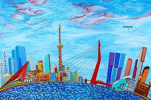 Modern Schilderij Rotterdam Skyline Fantasy van Ton van Breukelen